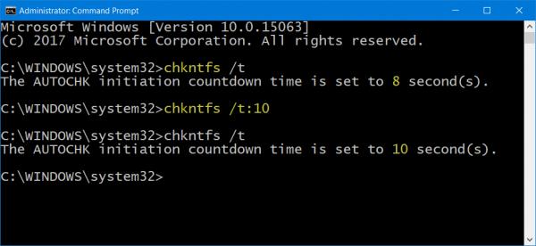 Как настроить задержку перед CHKDSK в Windows 10