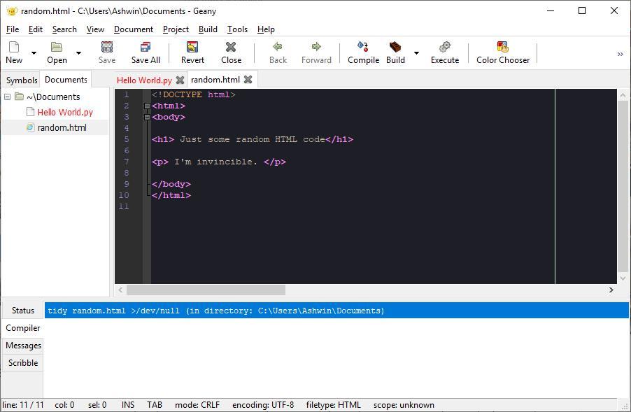 Geany — редактор для программистов с открытым исходным кодом для Windows, Linux, MacOS